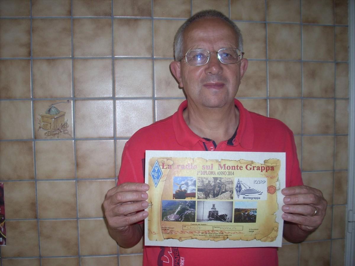 ON6PF con Diploma La Radio sul Monte Grappa
